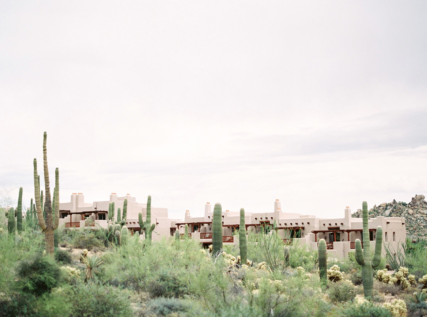 Four Seasons Scottsdale at Troon North. Arizona resort surrounded by desert. Saguaro cacti.