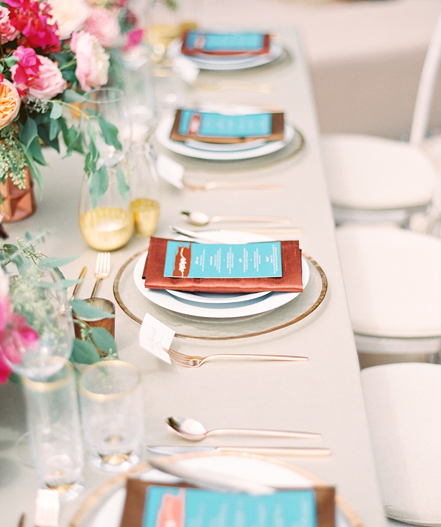 Outdoor reception. Pink flowers, turquoise,  copper & bronze accents.  Chic bohemian wedding.