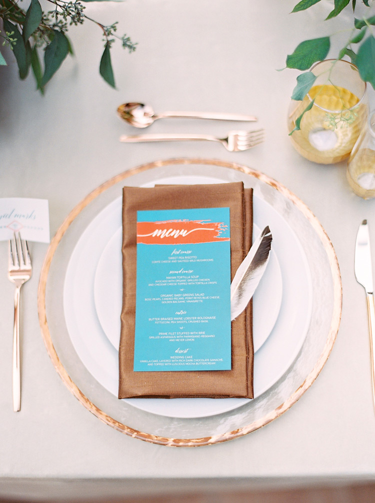 Southwestern reception place setting. Turquoise,  copper & bronze accents.  Chic bohemian wedding.