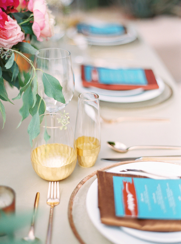 Outdoor Southwestern reception. Turquoise,  copper & bronze accents.  Chic bohemian wedding.