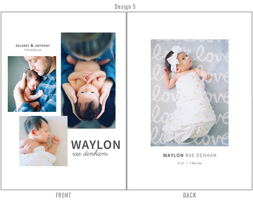 custom newborn birth announcement for Melissa Jill Photography clients