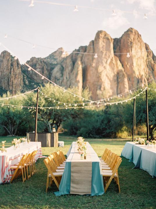 Outdoor Wedding Reception With Breath Taking Mountain Backdrop Destination In Arizona