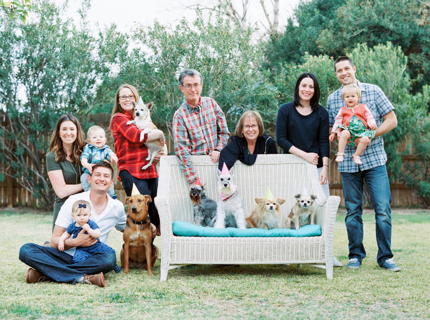 group portrait at a dog's birthday party