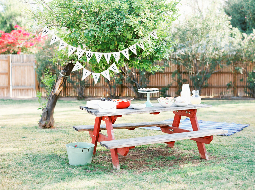 Casual outdoor wooden table placement with birthday decorations and food.