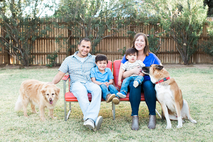 Family of four pose with older dogs. Outdoor play date.