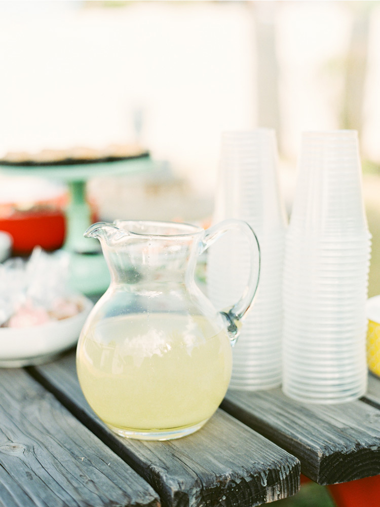 Pitcher of fresh squeezed lemonade.