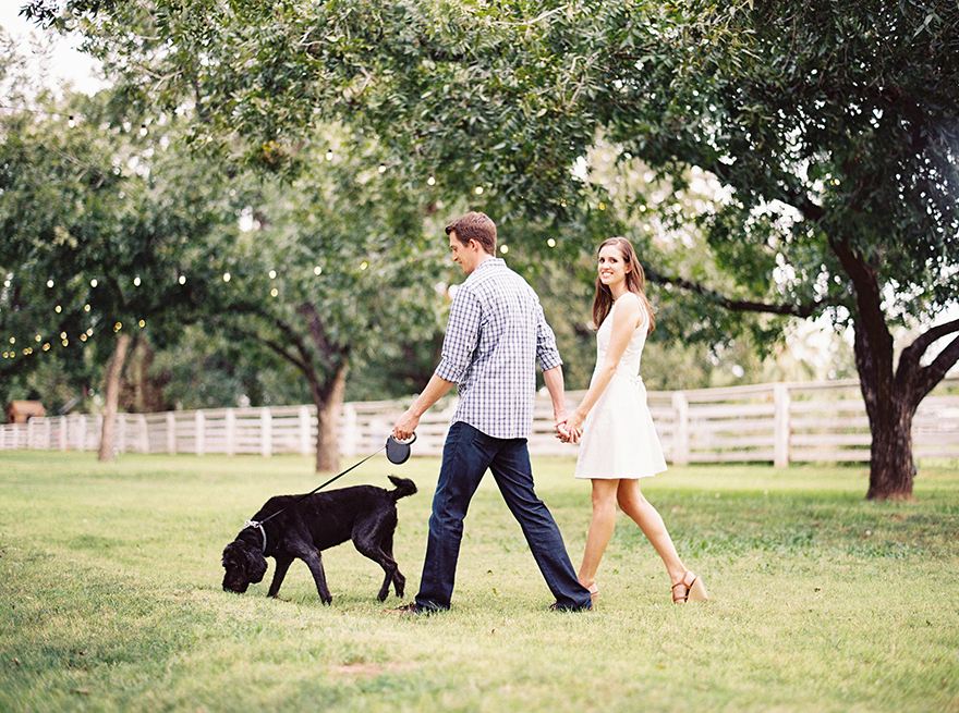 The Farm at South Mountain engagement shoot with a dog