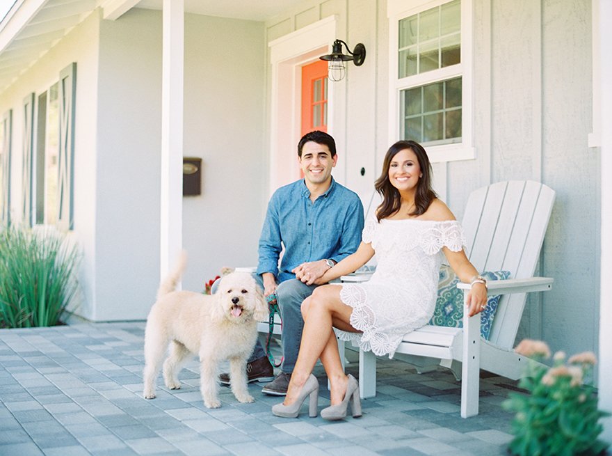 Arcadia home engagement shoot with a dog