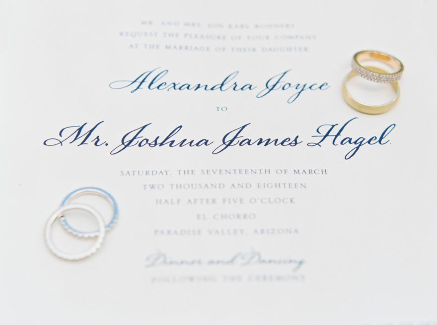 elegant invitation and wedding rings