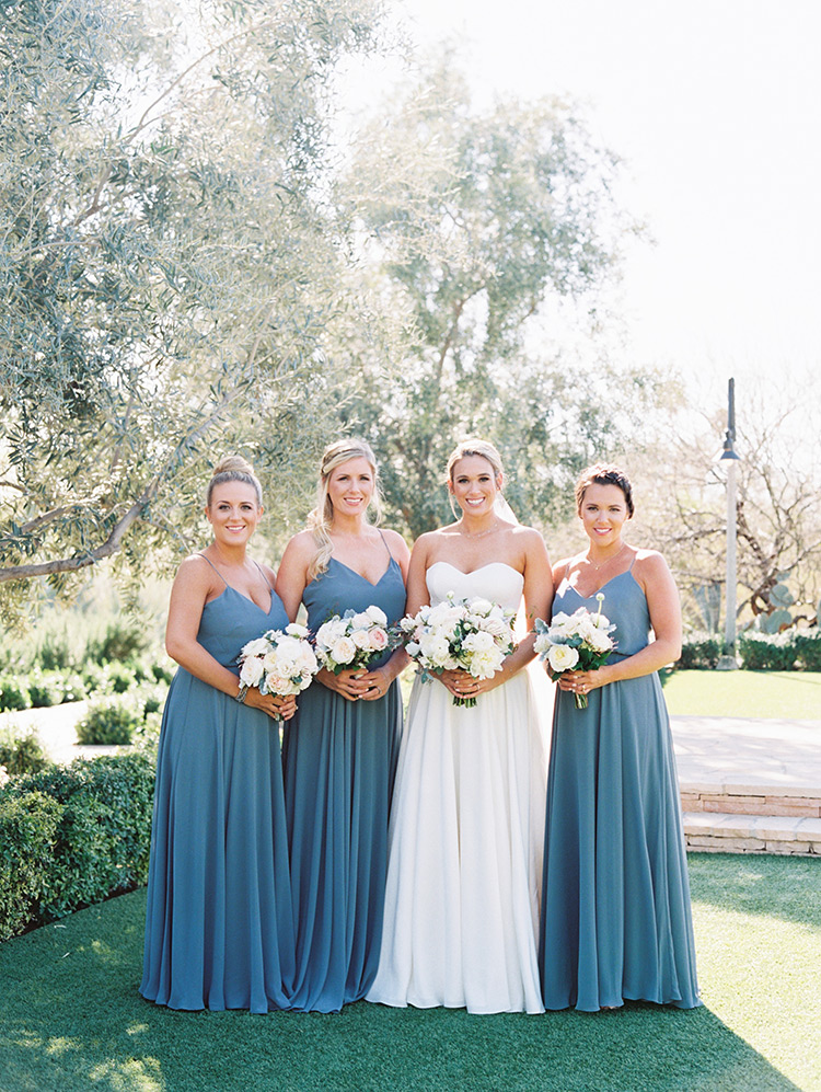 pretty bridesmaids in blue