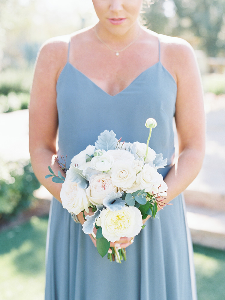 bridesmaid bouquet in white & blush
