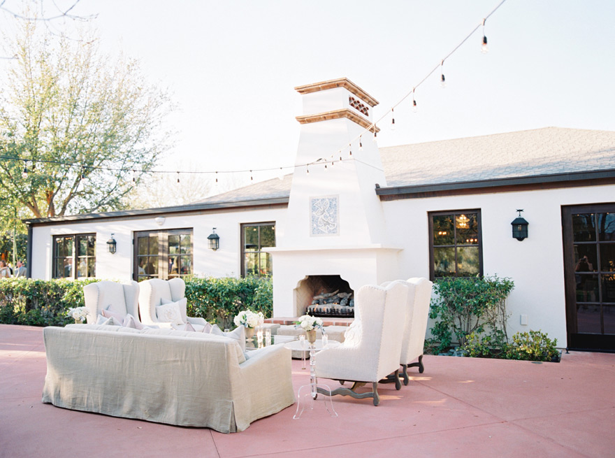 outdoor lounge at a  Spring wedding