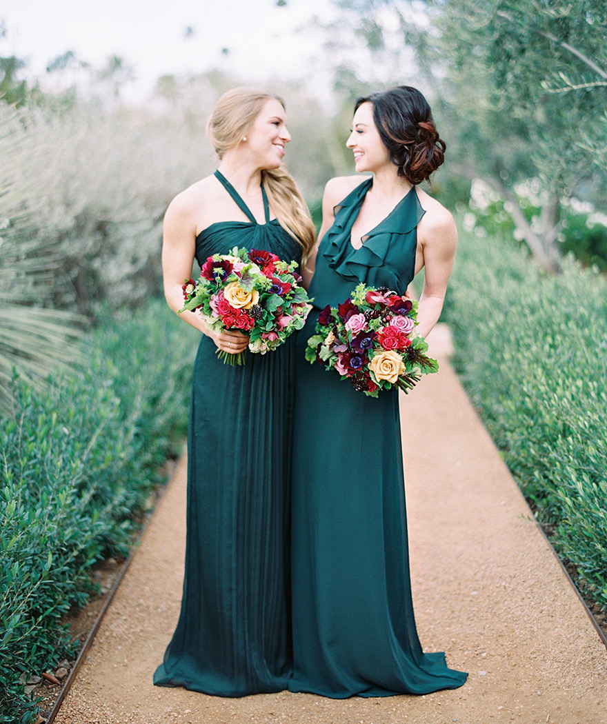 emerald bridesmaids dresses with rich flowers in burgundy and yellow