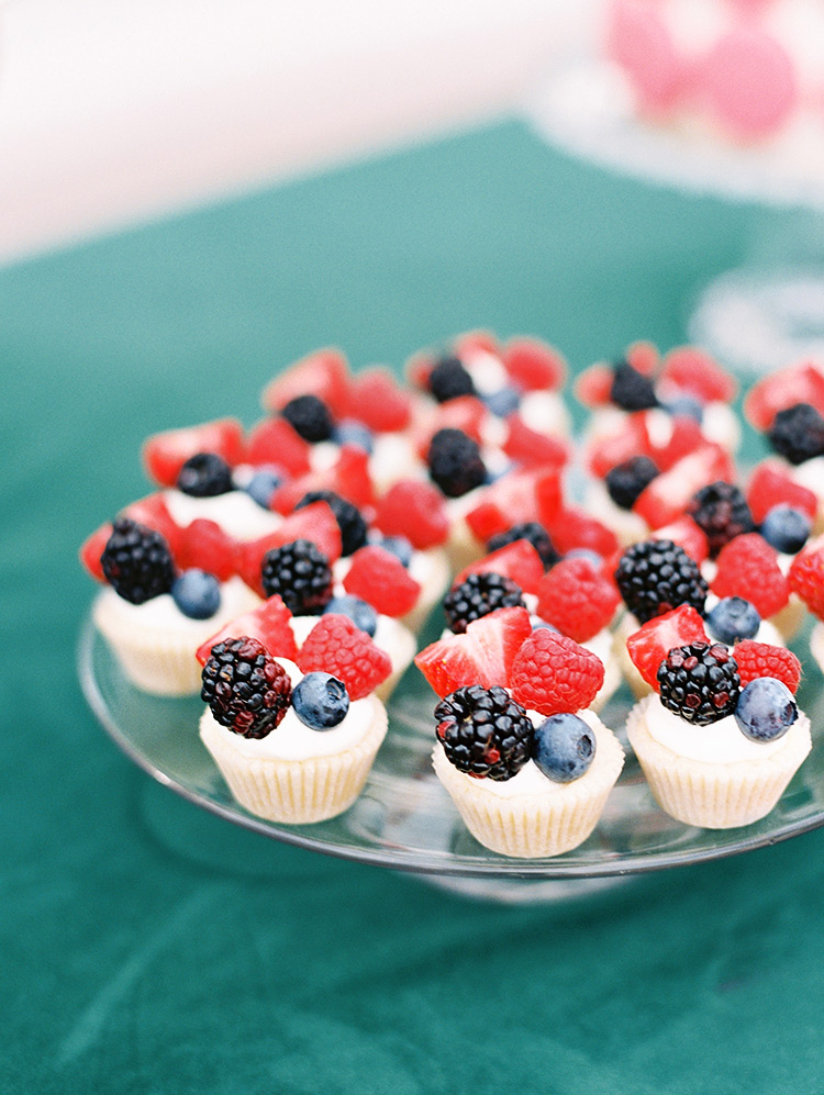 tiny wedding cupcakes with berries