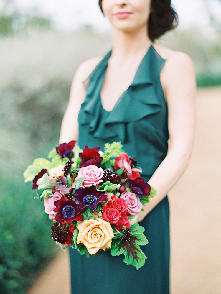 emerald bridesmaid dress with rich flowers in burgundy and yellow