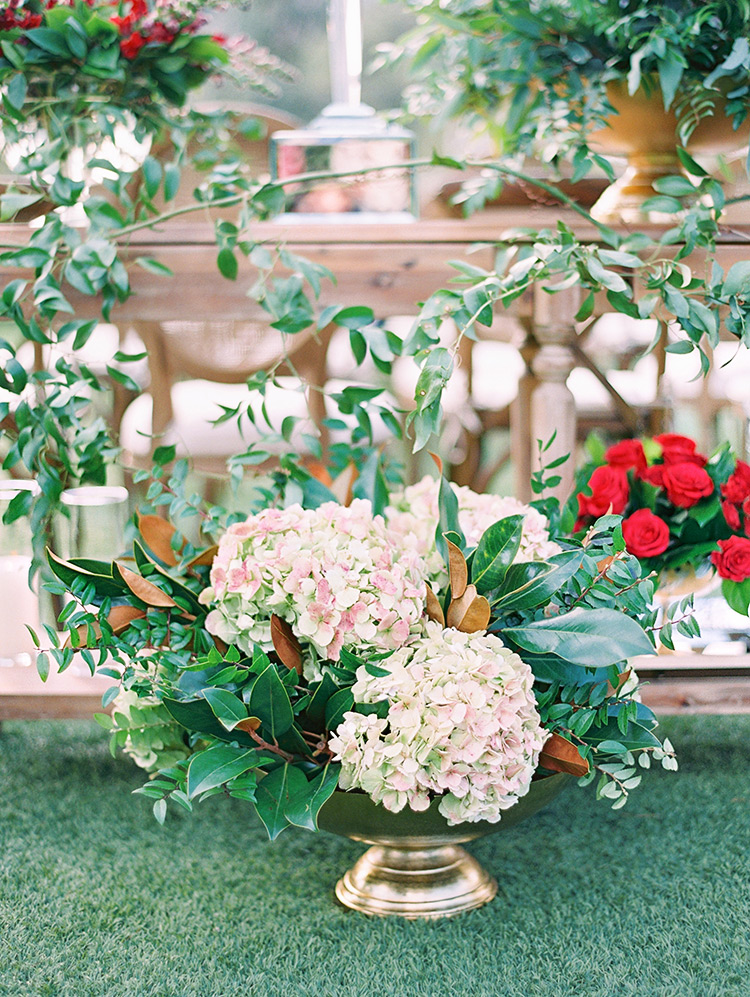 blush hydrangeas and greenery in a bronze bowl, outdoor wedding