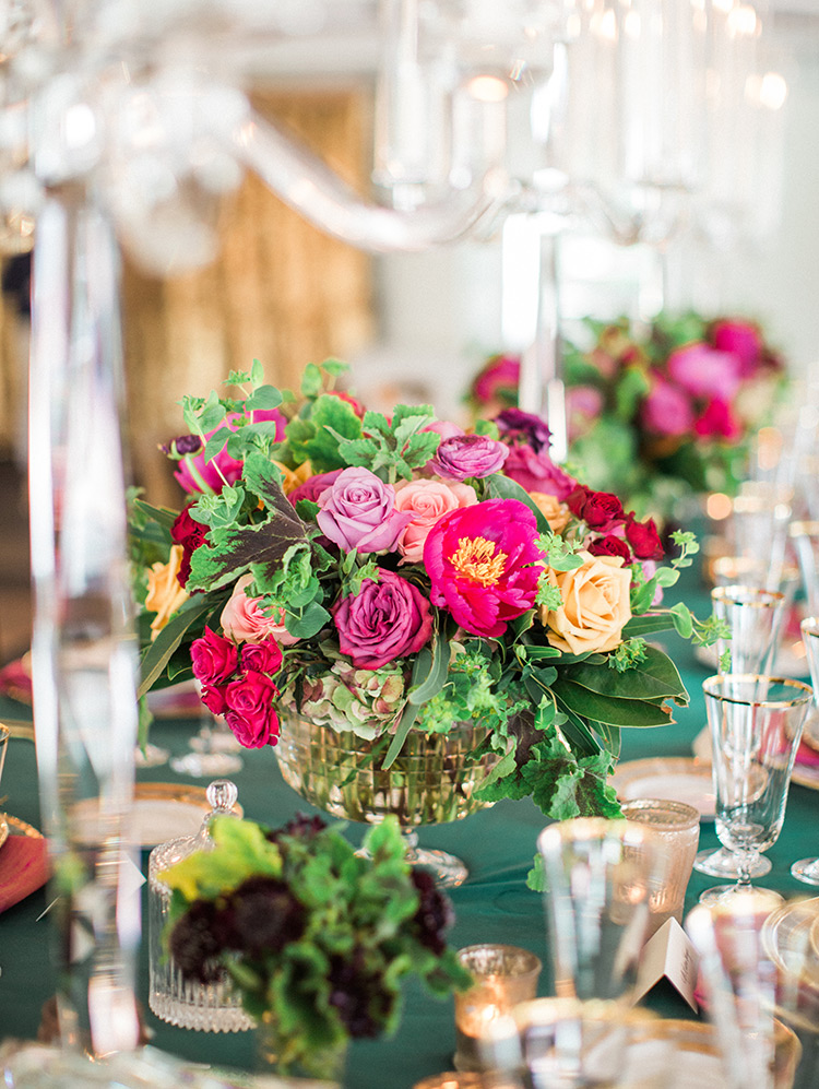 jewel toned wedding reception centerpiece
