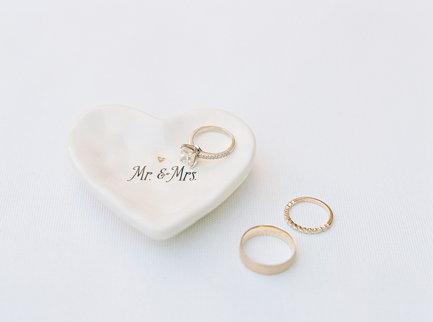 wedding rings and ring dish