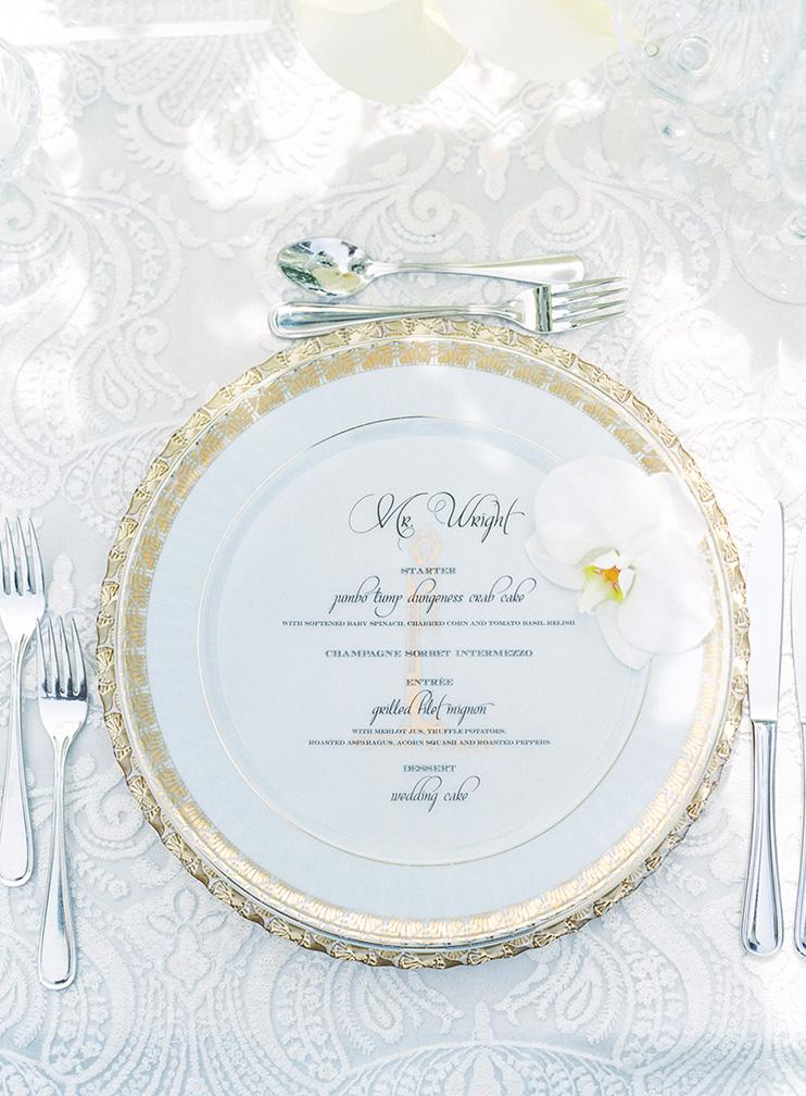 elegant outdoor reception in white & gold