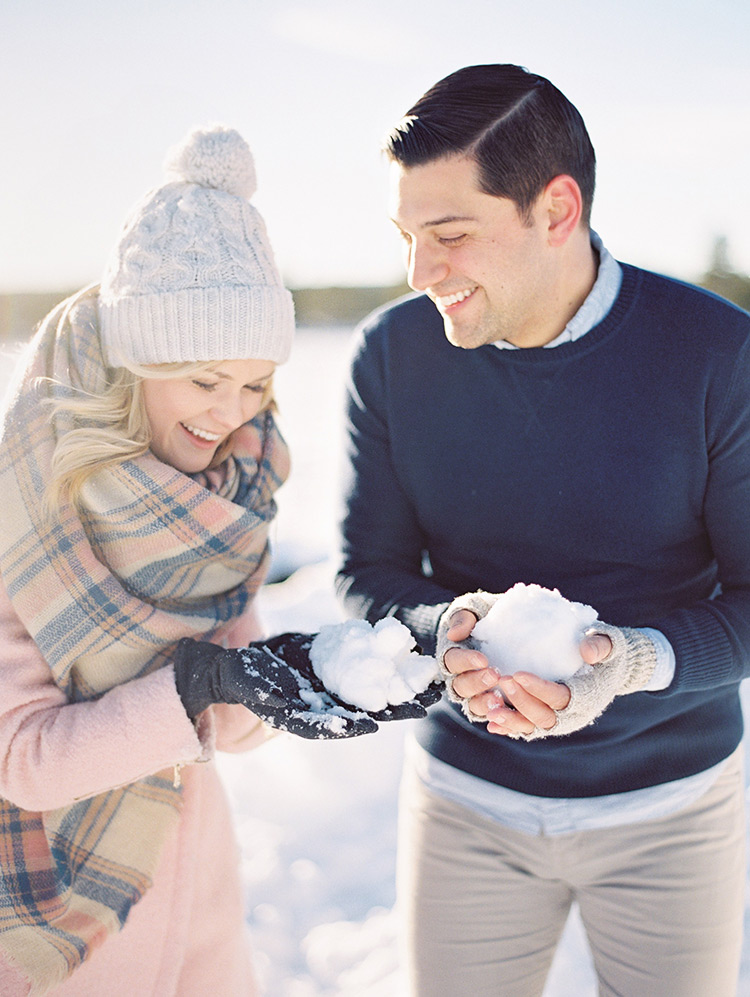 snowy engagement shoot style