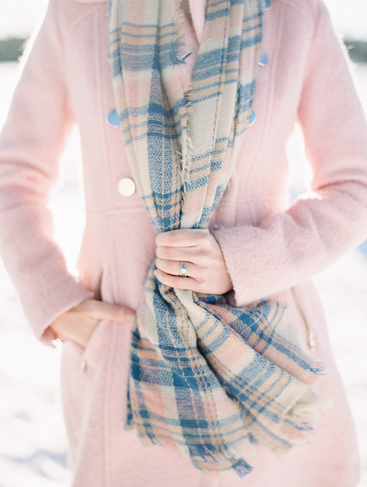 pink winter coat and blanket scarf