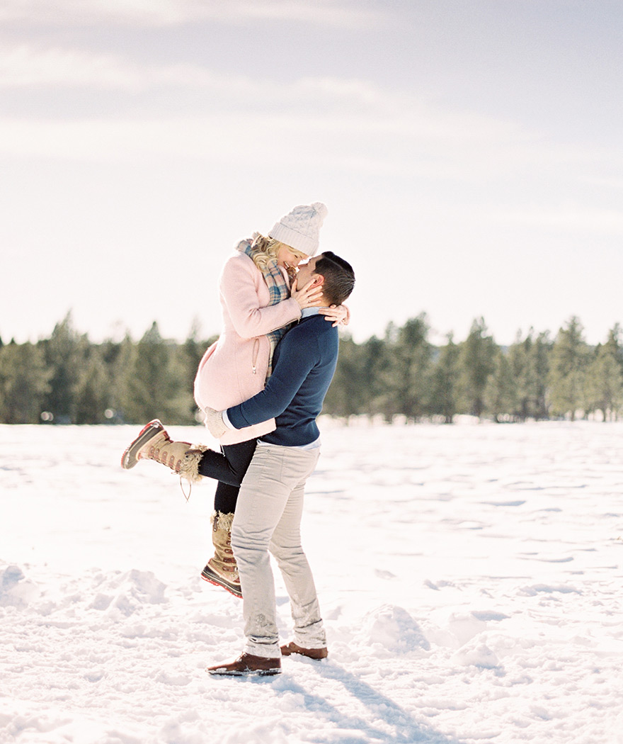 snowy engagement shoot attire