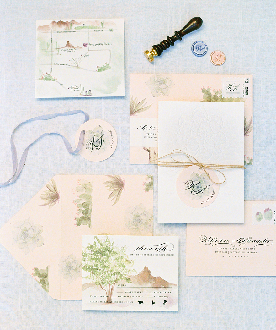 cactus watercolor invitation suite by Page & Mason