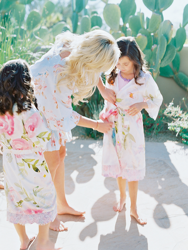 flower girl dressing in a silk robe