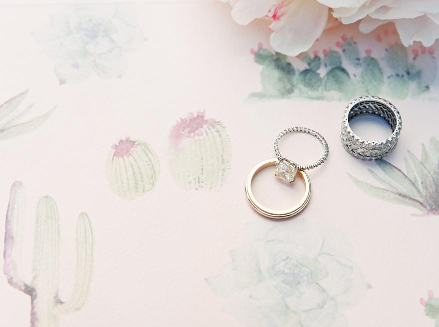 wedding rings on cactus watercolor invitation