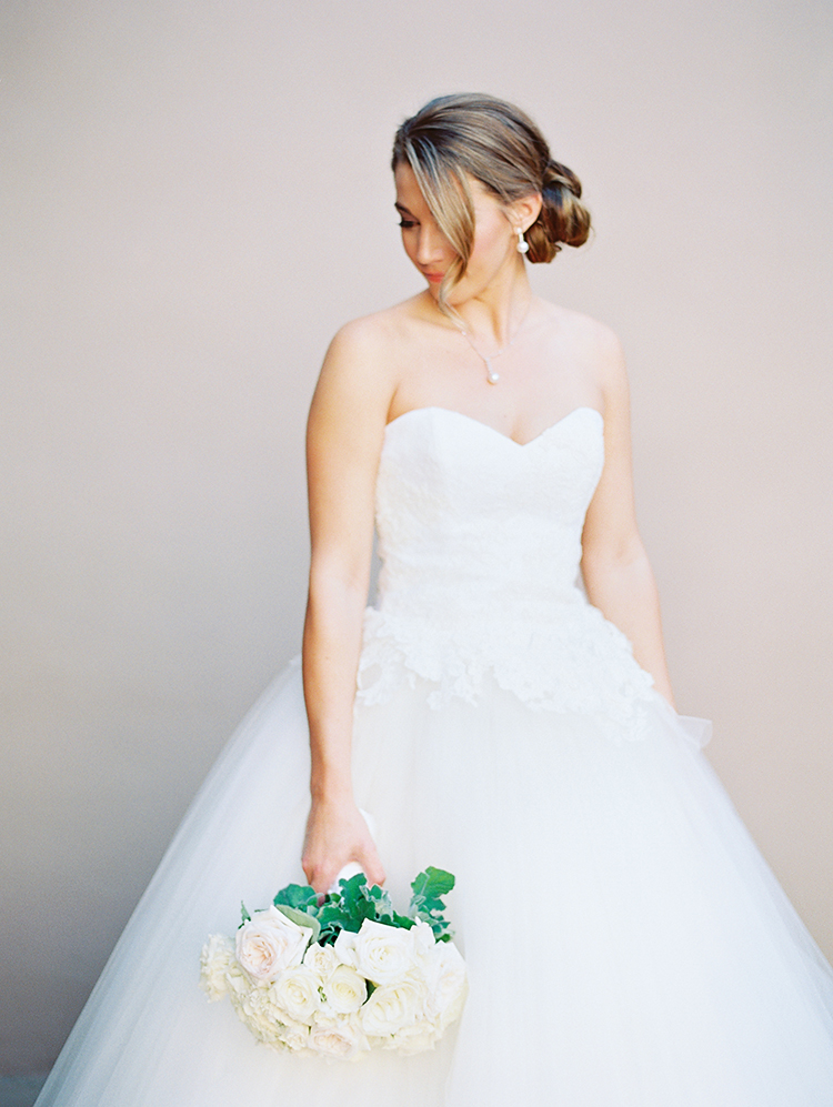 gorgeous bride in princess cut dress