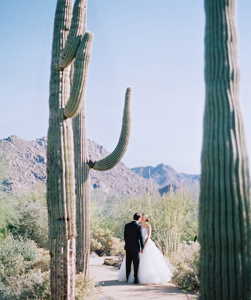 desert wedding with giant saguaro cactus