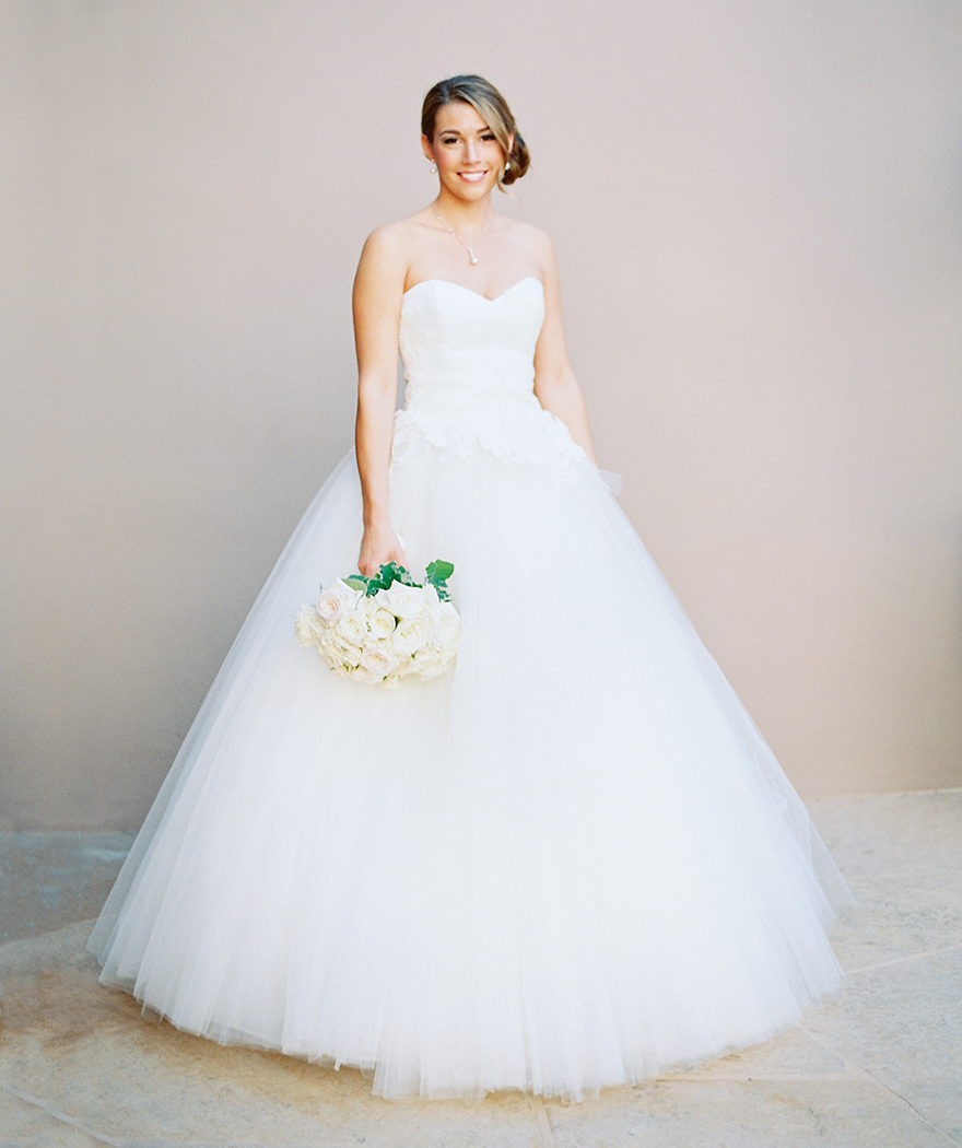 beautiful bride in a princess cut ball gown