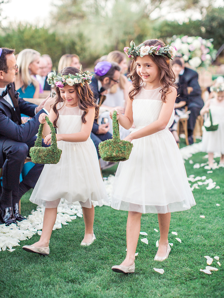 flower girls with moss baskets