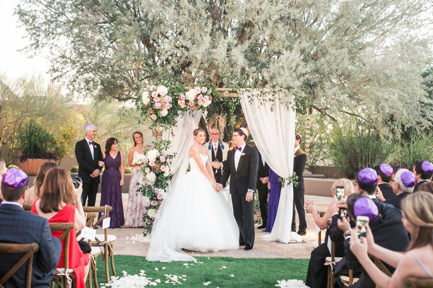 Jewish sunset wedding ceremony at Four Seasons Troon North