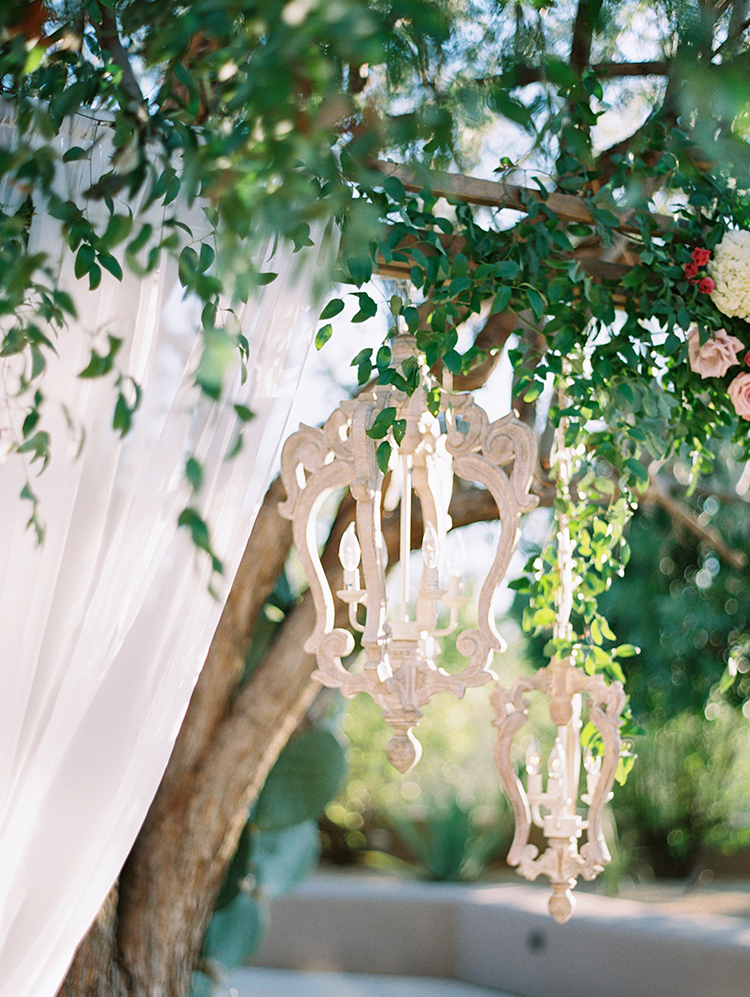 chuppah chandelier detail by Flower Studio