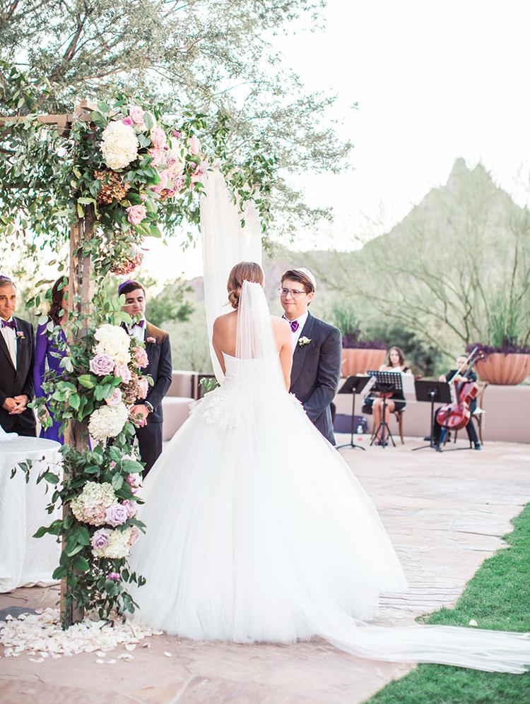 Jewish sunset wedding ceremony at Four Seasons Troon North