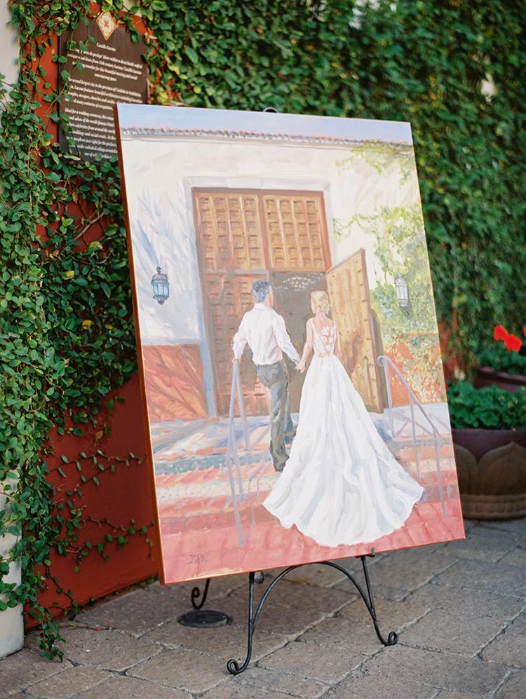 custom painting of the bride & groom