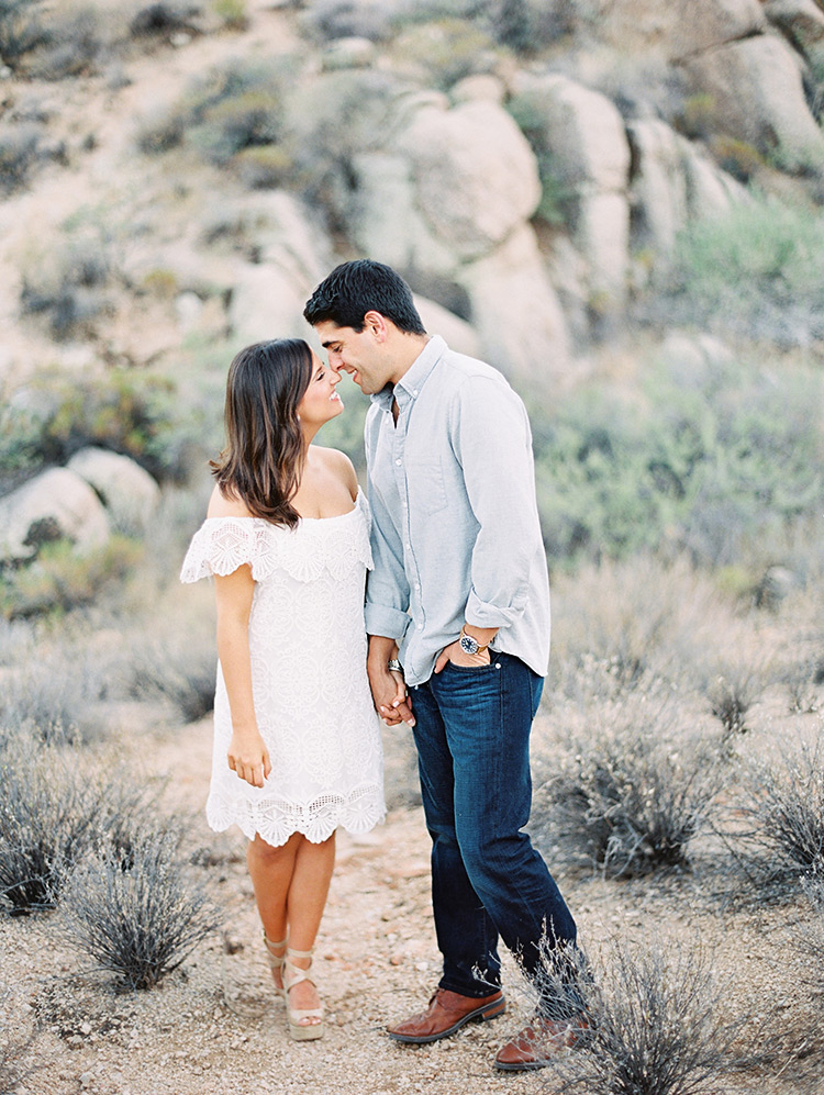 Off-shoulder white lace dress, engagement photos
