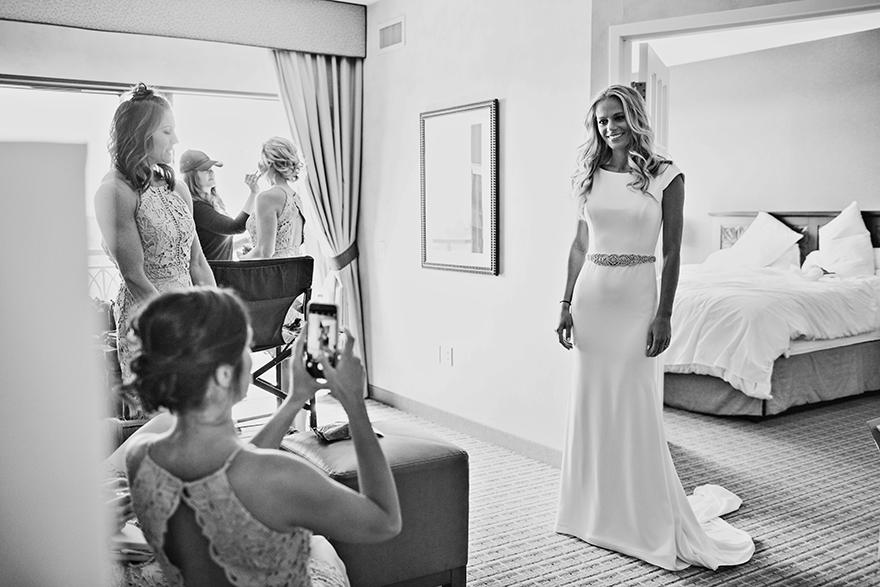 elegant bride in a sleek gown