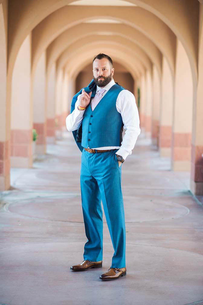 dapper blue three piece suit, groom style