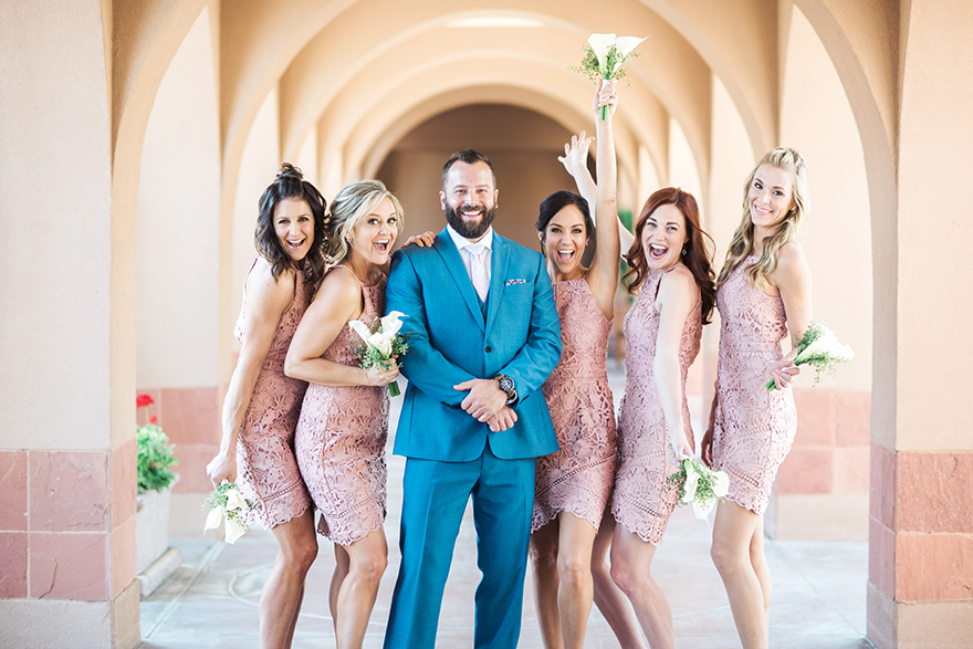 happy wedding party in pink and blue