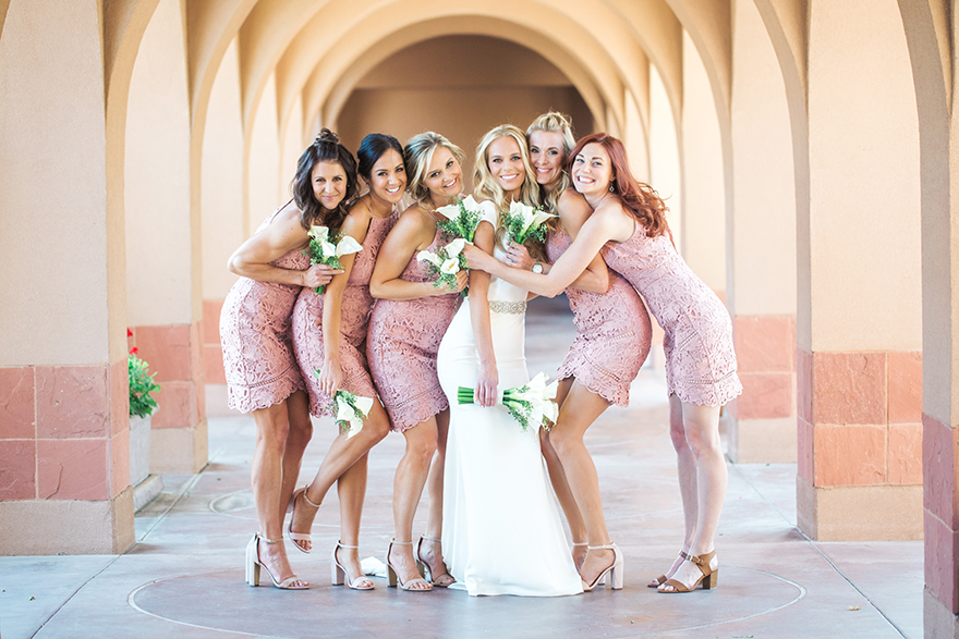 bridesmaids in pink lace