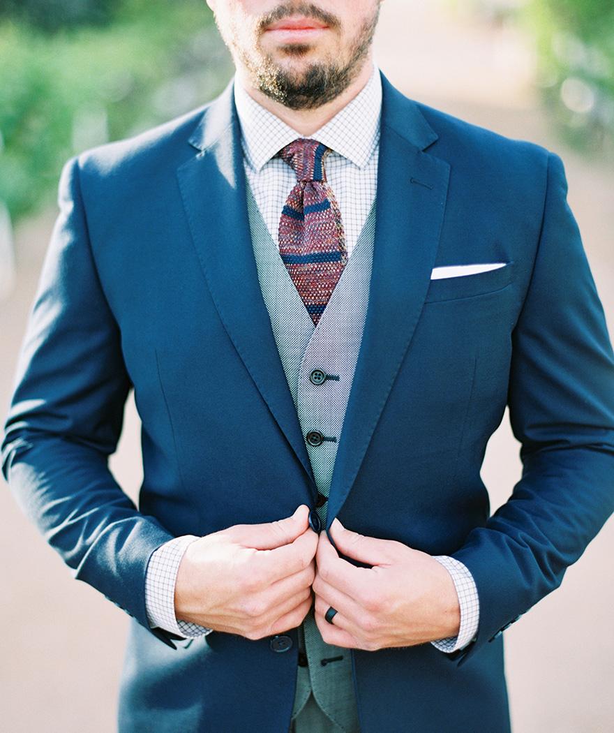 Gray & blue three-piece suit