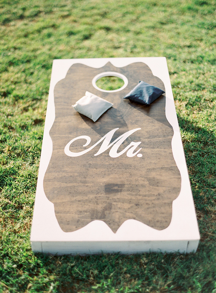 cornhole at a wedding reception