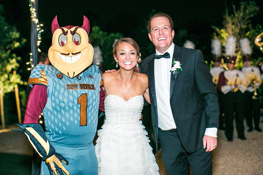 bride & groom with ASU's mascot Sparky
