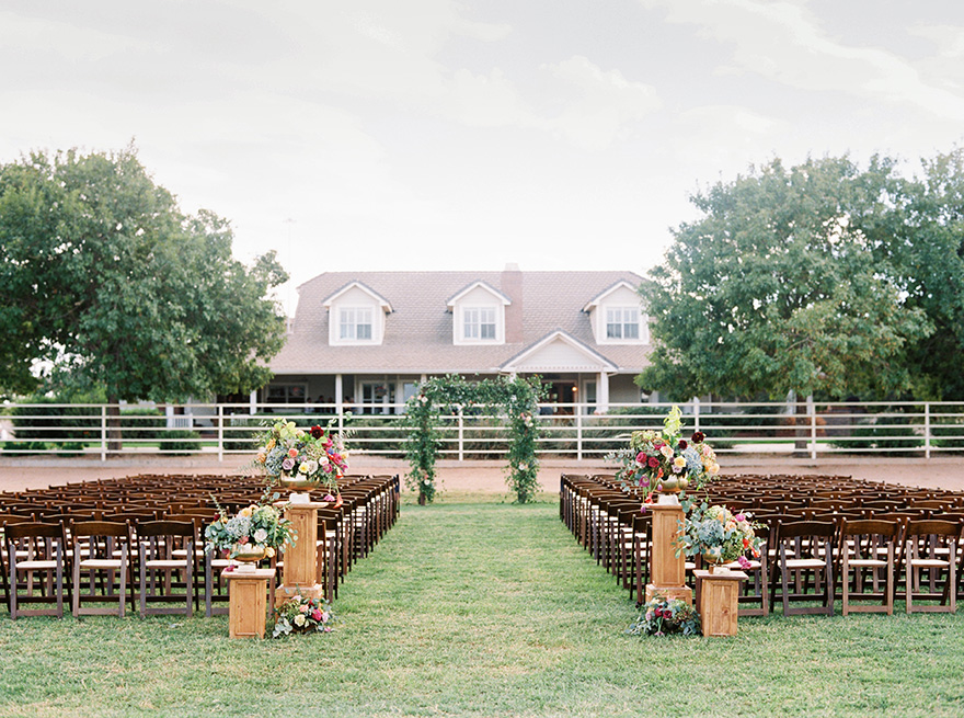 outdoor wedding at a dairy farm