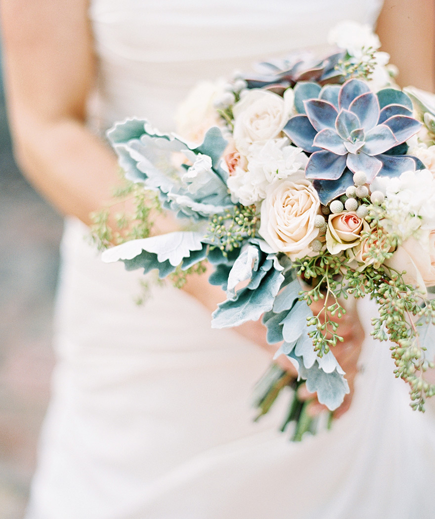 pale peach bouquet with succulents and dusty miller