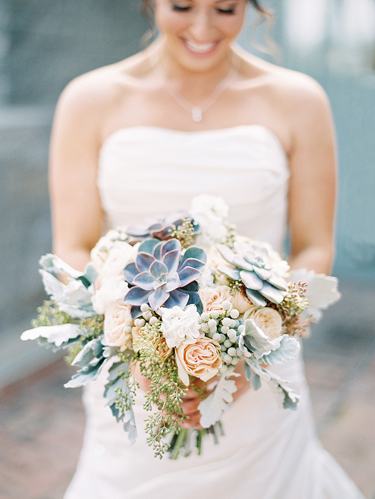 pale peach bouquet with succulents & dusty miller