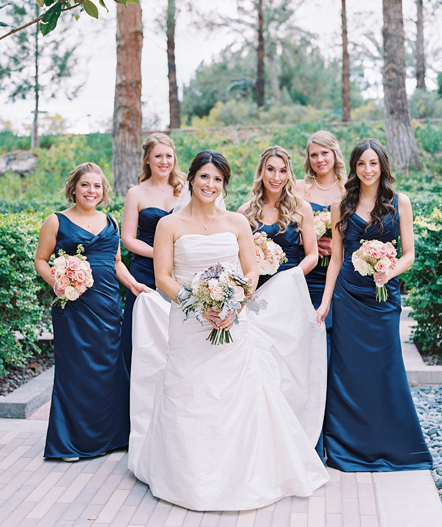 glamorous bridesmaids in midnight blue satin