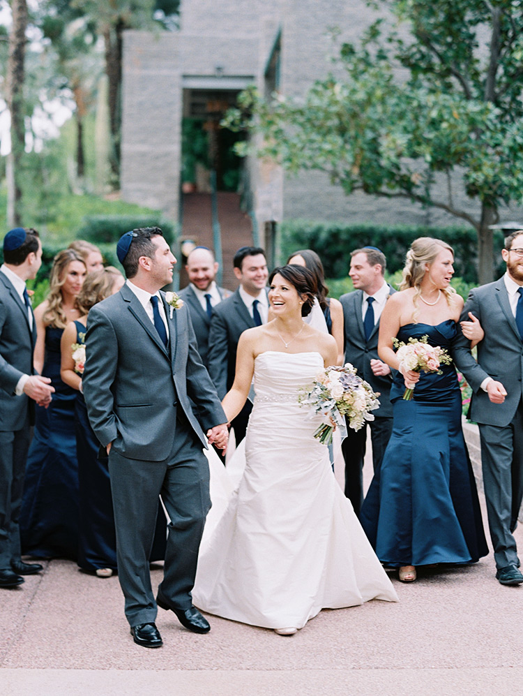 elegant bridal party in grey and midnight blue